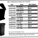 BIN COLLECTION DATES 2020