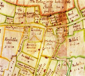 Photo:Barnards, on the 1686 Chicheley Estate map