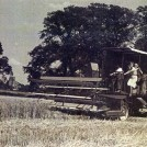 Photo:Manor Farm's first combine harvester, 1947