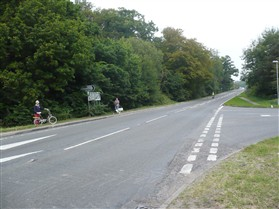 Photo:Fishers Lane/A603 junction Sept. 2014. The cyclist stands at the site of the old seat
