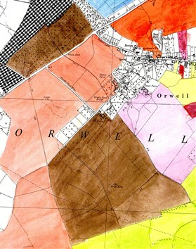 Photo:The extent of Grove Farm and White Arch fruit farm (coloured brown) in 1941