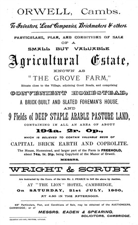 Photo:Sale particulars for Grove Farm, July 1900