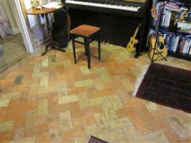Photo:Beautiful pavior brick floor.