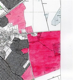 Photo:Lilac Farm land in 2003 (shaded red) extends further east , beyond this map, in 2012