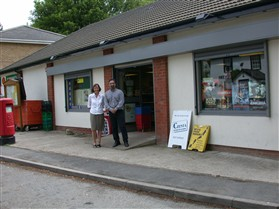 Photo:Satnam Boora, proprietor, and Mrs Linda Neaves, postmistress, outside the new village shop, built on the site of Millers Stores in 1997