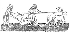 Photo:Ploughing with oxen in the 12th century