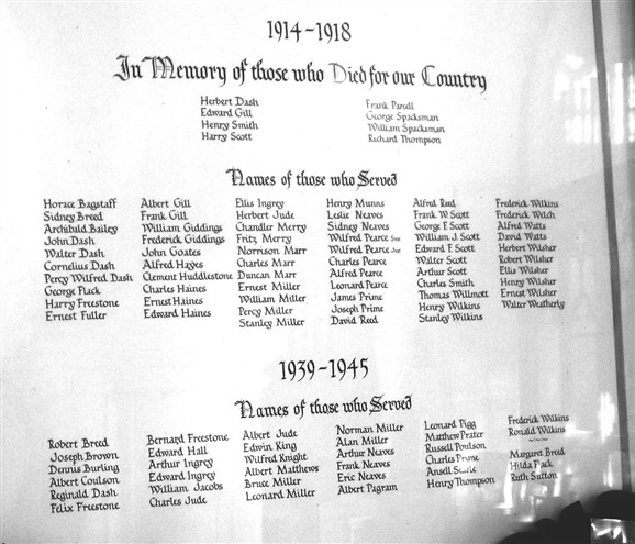 Photo:The Roll of Honour  in Orwell Church includes all the Orwell people who fought in both World Wars.