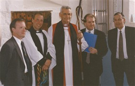 Photo:The Bell Dedication Service.L to R: Alan Hughes - Bellfounder;Neil Brice - Rector; RT Revd John Dennis; Roy Mills - Millenium Project Monitor; and Brian White- Bell Hanger.