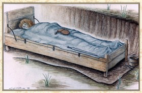 Photo:Drawing of a Bed-Burial by Caroline Malim