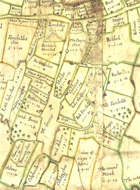 Photo:The 1686 map. Note several Jeapes properties.