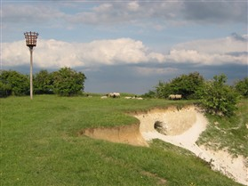 Photo:The beacon at the top of the Clunch Pit  was built and donated by Marshall's Aerospace for the Millennium celebrations, and is the property of South Cambridgeshire District Council.