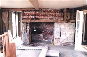 Photo:The left hand side of the inglenook had been demolished to create a lobby for the front door.