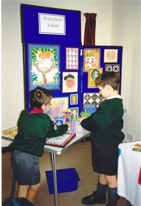 Photo:Petersfield pupils with their display