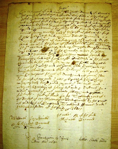 Photo: Illustrative image for the 'Will of Michael Barnard 1640' page