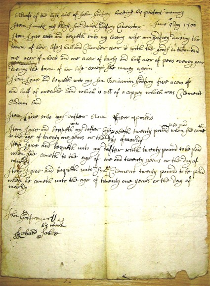 Photo: Illustrative image for the 'Will of John Godfrey 1700' page