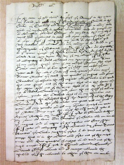 Photo:Edmund Barnard 1575 page 1.